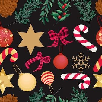 Piękny ręcznie rysowane wzór świąteczny