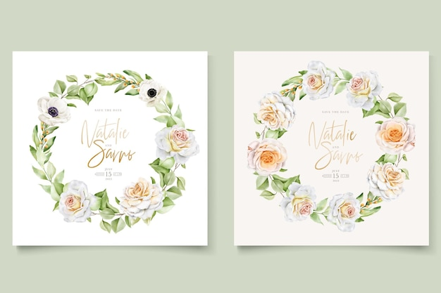 Piękny, ręcznie rysowane zestaw kart z zaproszeniem na ślub róże