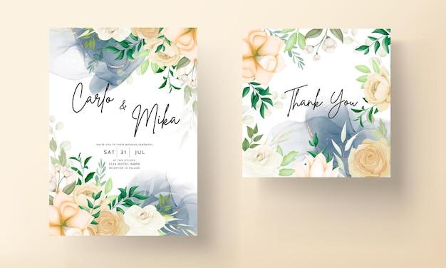 Piękny, ręcznie rysowany, miękki kwiatowy szablon zaproszenia ślubnego