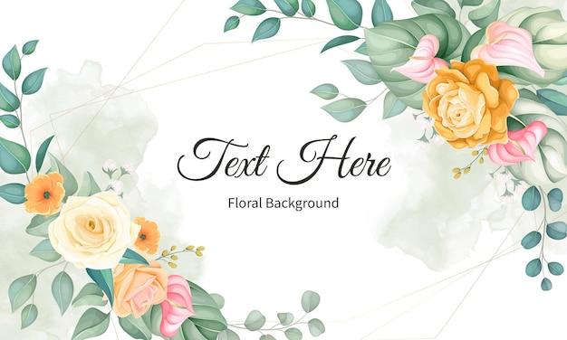 Piękny ręcznie rysunek kwiat i liście