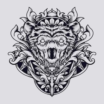Piękny, ręcznie wykonany ornament z grawerowaną czaszką niedźwiedzia