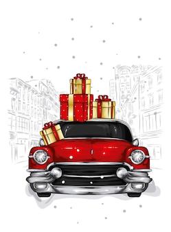 Piękny retro samochód i prezenty świąteczne