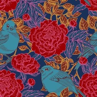 Piękny retro wzór ptaków i kwitnących piwonii