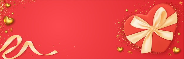 Piękny romantyczny baner na walentynki z realistyczną dekoracją pudełka na prezenty