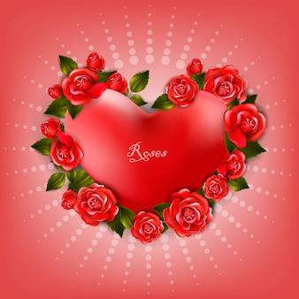 Piękny romantyczny kształt serca z czerwonymi różami i liśćmi