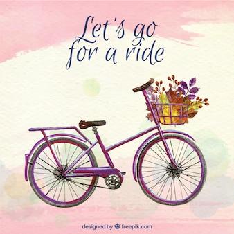 Piękny rower akwarelowy i kwiaty