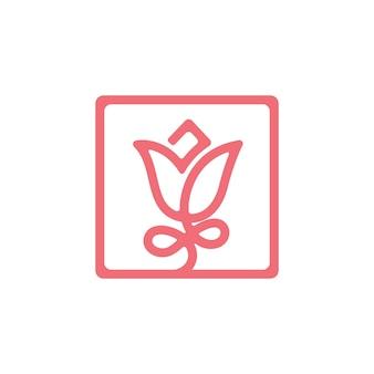 Piękny róża minimalny logo wektor