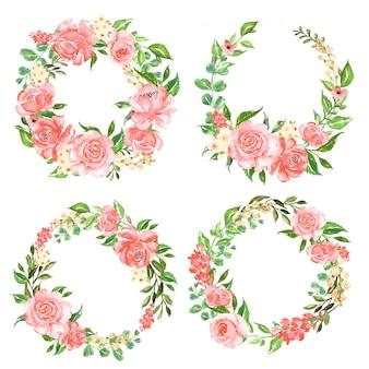 Piękny różany zestaw akwarela wieniec kwiatów