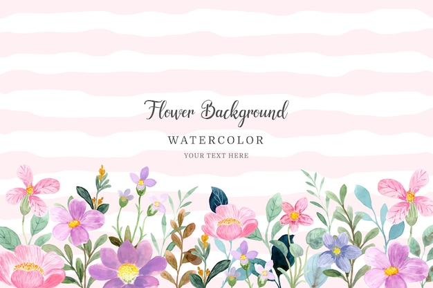 Piękny różowy fioletowy kwiat akwarela ogród tło