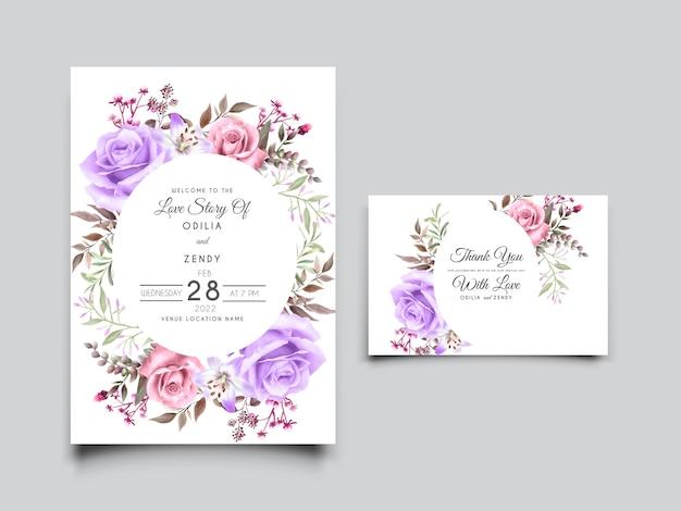 Piękny różowy i fioletowy róża ilustracja szablon karty ślubu