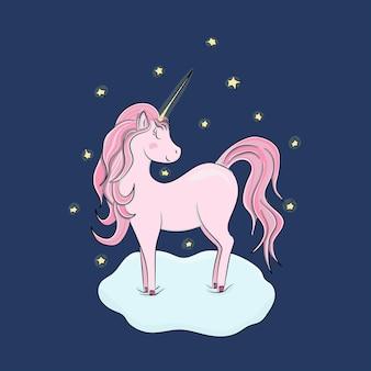 Piękny różowy jednorożec na chmurze z gwiazdami
