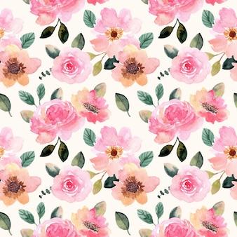 Piękny różowy kwiat akwarela bezszwowe wzór