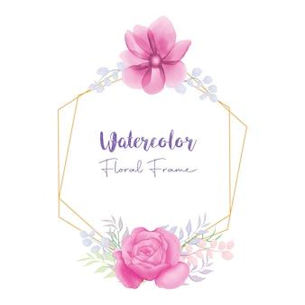 Piękny różowy kwiat akwarela kwiatowy rama