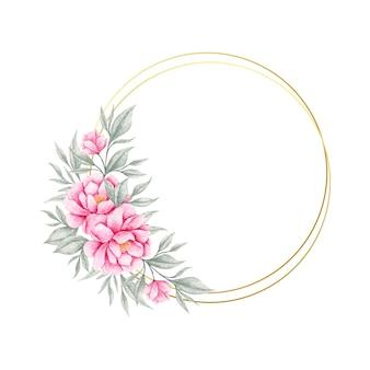 Piękny różowy kwiat i liście ramki