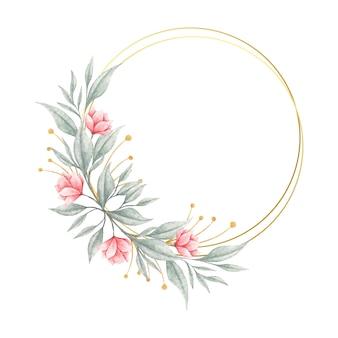 Piękny Różowy Kwiat I Liście Ramki Premium Wektorów