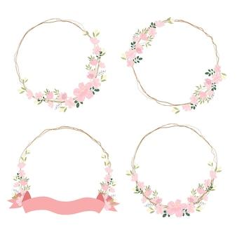 Piękny różowy kwiat sakury lub wesoły kwiat z suchą gałązką i kolekcją wieńców wstążkowych