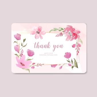 Piękny różowy kwiatowy akwarela dziękuję karty z ramą