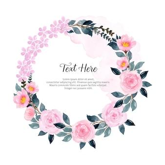 Piękny różowy kwiatowy wieniec akwarelowy