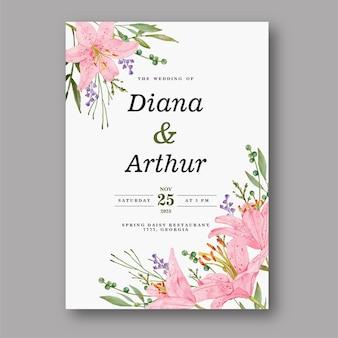 Piękny różowy lilia akwarela zaproszenie na ślub