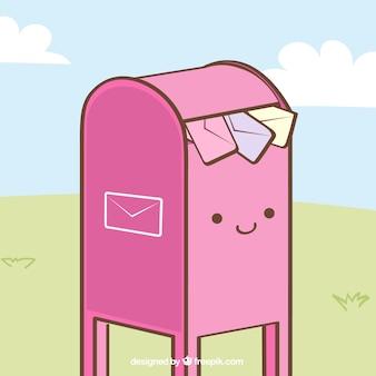 Piękny różowy skrzynki tła z kopert