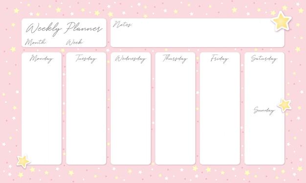 Piękny różowy tygodniowy planer z gwiazdami