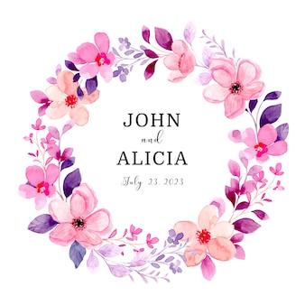 Piękny różowy wieniec kwiatowy z akwarelą