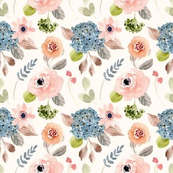 Piękny rumieniec niebieski kwiat akwarela bezszwowe wzór