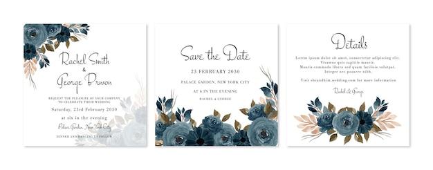 Piękny rustykalny kwiatowy zestaw zaproszeń ślubnych indigo blue