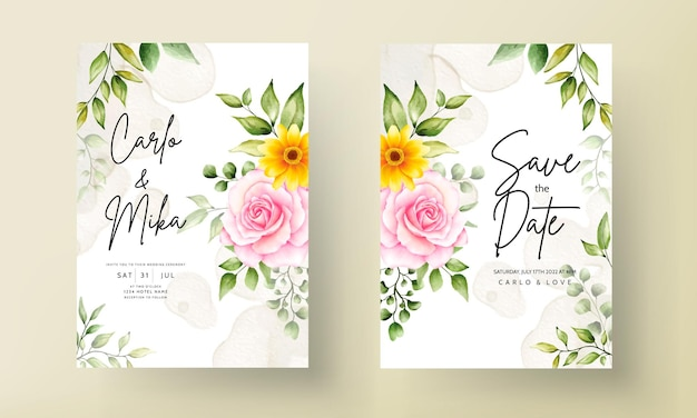Piękny rysunek akwarela kwiat zaproszenie na ślub karta