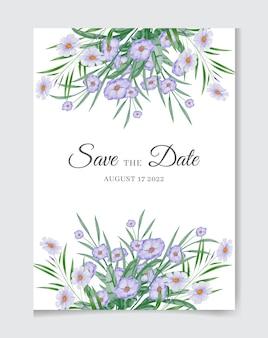 Piękny rysunek akwarela kwiat zaproszenie na ślub projekt karty