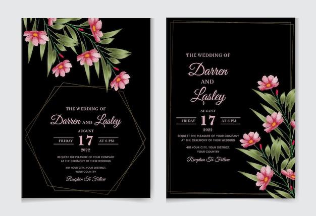 Piękny rysunek akwarela kwiaty szablon karty zaproszenie na ślub