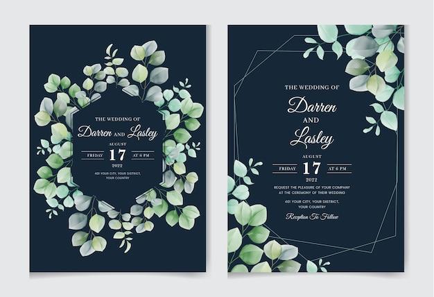 Piękny rysunek akwarela pozostawia szablon karty zaproszenia ślubne
