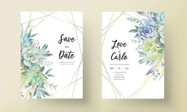 Piękny rysunek akwarela sukulenty i szablon zaproszenia ślubnego kwiatu