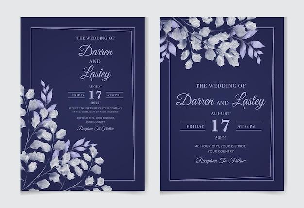 Piękny rysunek akwarela zaproszenie na ślub kwiatowy wzór z liśćmi