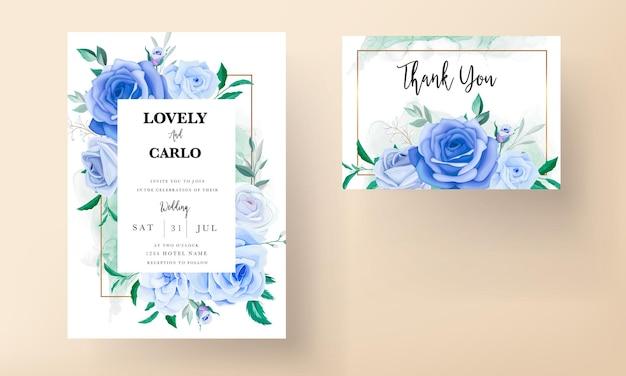 Piękny rysunek karty zaproszenie na ślub z niebieskim kwiatem