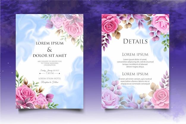 Piękny rysunek kwiatowy zaproszenie na ślub szablon