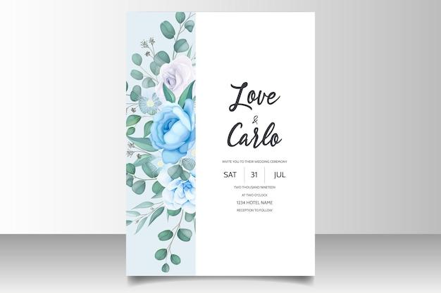 Piękny rysunek ręka zaproszenie na ślub niebieski kwiatowy wzór
