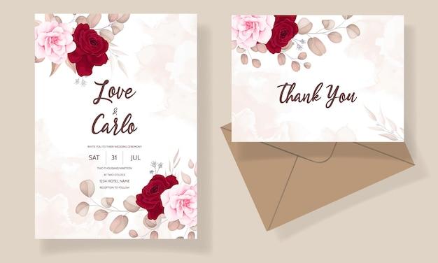 Piękny rysunek zaproszenia ślubne bordowy kwiatowy wzór
