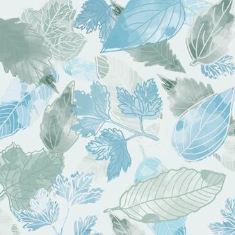 Piękny skład liści niebieski i zielony.