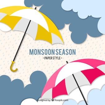 Piękny skład sezonu monsunowego z parasolem