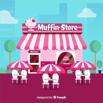 Piękny sklep z muffinami o płaskiej konstrukcji