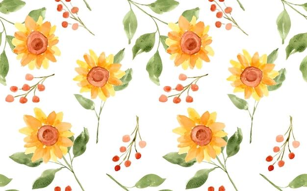 Piękny słonecznik akwarelowy jako bezszwowy wzór