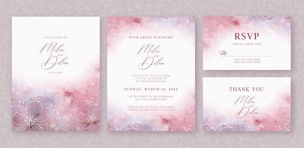 Piękny ślub karty akwarela tło z splash i kwiatowy linie
