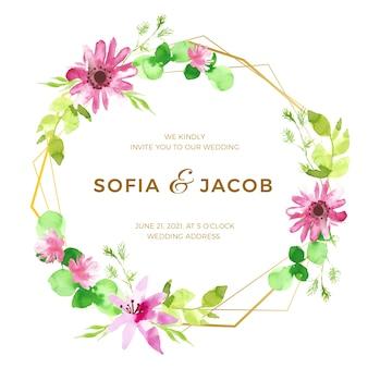 Piękny ślub kwiatowy rama koncepcja
