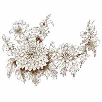 Piękny ślub kwiatowy szkic projektu
