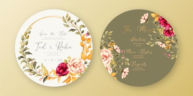 Piękny ślub menu i szablon zaproszenia
