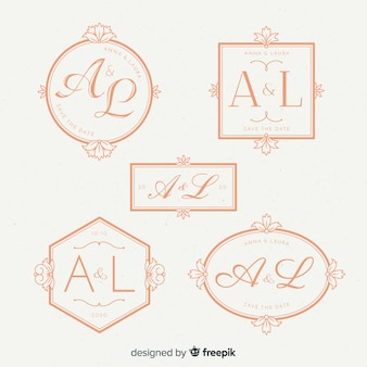 Piękny ślub monogram logo