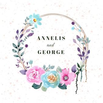 Piękny ślub odznaka akwarela wieniec kwiatowy
