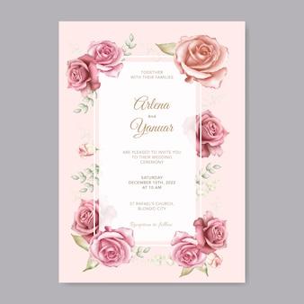 Piękny ślub szablon karty z czerwonym kwiatem