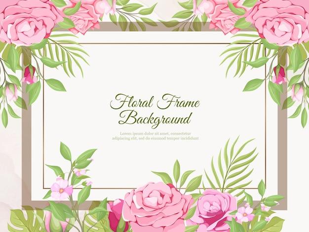 Piękny ślub transparent tło kwiatowy i liść szablon projektu